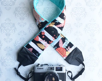 DSLR Minky Camera Strap, Padded with Lens Cap Pocket, Nikon, Canon, DSLR Photography, Photographer Gift, Wedding - Striped Floral with Aqua