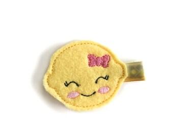 Lemon Felt embroidery hair clip, felt hair clip, baby girl hair clip, baby barrette, adorable hair clip