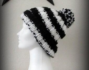 hat - knit hat - hand knit hat - hand knit pom pom hat - pom pom hat - black and white knit hat - black and white pom pom hat - knit pom pom
