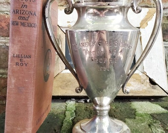 Vintage 1930 Girl Scouts Trophy with Book and Badges