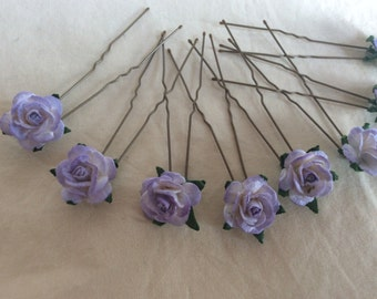 Lilac Rose Hair Pins x 8. Paper. wedding, Bridal, Regency, Victorian
