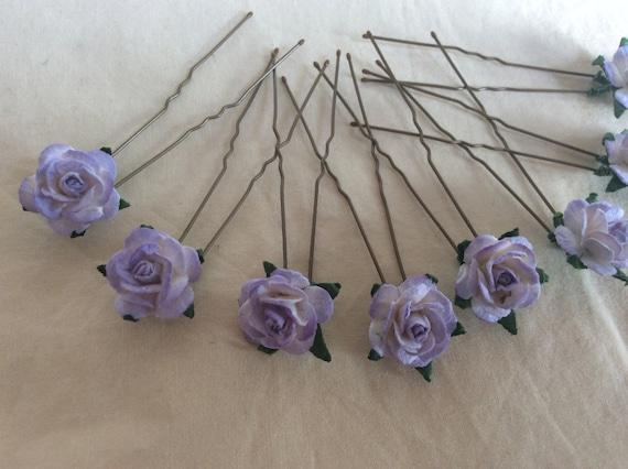 Lilac Rose Hairpins x 8. Paper. wedding, Bridal, Regency, Victorian