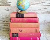 Reserved Pink Books Instant Library Collection by Color Photography Props Vintage Decorative Books Shabby Chic Pastel