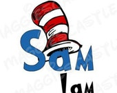 Your Child's Name DIY Vinyl Iron On - Dr Seuss - Sam I Am - Decal