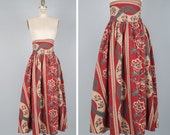 Tapestry Wrap Skirt • Floral Maxi Skirt with Pockets • Twirl Skirt • Burgundy Floral Skirt • Red Skirt • Christmas Skirt  | SK647