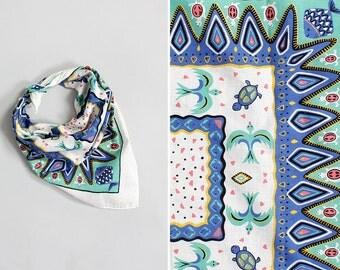 Turtle Print Cotton Scarf • White Cotton Scarf • Geometric Print Summer Scarf • Pastel Neck Scarf • Novelty Print Bandana Scarf | SC246