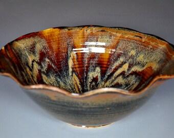 Sunburst Ceramic Bowl Pasta Salad Bowl Handmade Pottery Bowl B