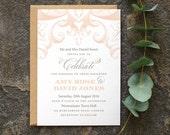 Traditional Wedding Invitation / 'Victorian' Elegant Calligraphy Wedding Invite / Nude Blush Peach Grey Silver / Custom Colours / ONE SAMPLE