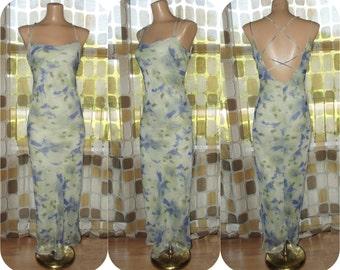 Vintage 90s Retro 30s Sheer Chiffon Watercolor Lilacs Art-Nouveau Bias Harlow Dress Sz. 7/8 Gatsby Criss Cross Back