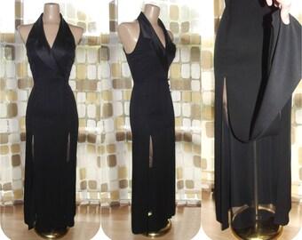 Vintage 90s Dress | 1990s Tuxedo Gown | Thigh Slit Flaps | Chiffon Satin Gothic | McClintock | Size Medium