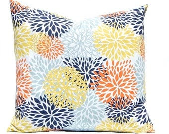 Floral Pillow Shams - Orange, Aqua and Yellow - Chyrsanthemum - Aqua Pillow Cover - Yellow Pillow Covers - Throw Pillow Covers - Navy Pillow