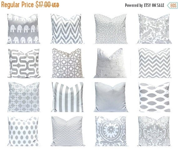 SALE Pillow Cover, Decorative Pillow, Nursery Decor, Gray Pillow Throw Pillow Cover One 18 x 18 Pillow Covers Gray and White Grey Pillows