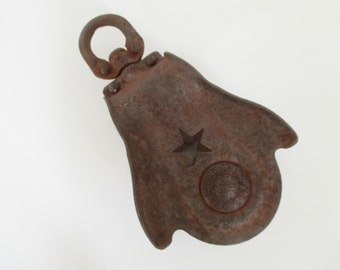 Vintage Cast Iron Salvaged Pulley - Star Design - Industrial Decor - Garden Decor - Plant Hanger