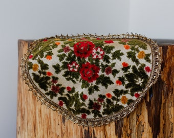 Lovely 1970s Victorian Floral Velvet Doily with Awesome Gold Lacing Around the Edge