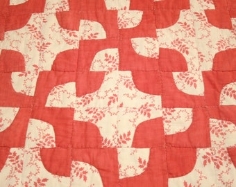 "Red and Cream ""Wanderer's Path in the Wilderness"" 19th Century Antique Quilt Piece - 25 x 18 Inches"