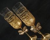 Gold Glitter Champagne Glasses, Wedding Glasses, Champagne Flutes, Toasting Glasses, Hand Painted, Set of 2