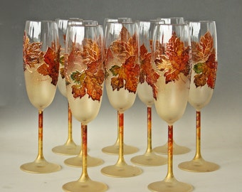 Hand Painted Champagne Glasses, Fall Leaves, Autumn Wedding, Set of 10