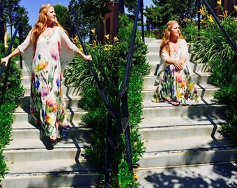 SUMMER SALE! Couture Ethereal Boho Gypsy SILK caftan Badgley Mischka. Was 695!