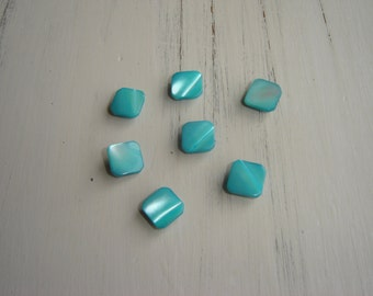 Vintage Lot of 7 Aqua Plastic Pearlescent Dress Buttons ~ Square Buttons ~ Shimmering Buttons ~ Sky Blue Sea Blue ~ Shank Buttons