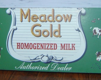 Vintage Meadow Gold Wood Sign Authorized Dealer Painted Sign Dairy Cows Butter Milk Cream Antique Mercantile Store Sign FREE Local PICKUP LA