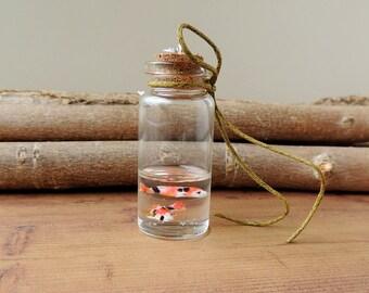 Koi Fish Bottle Necklace, Two Koi Carp Swimming Bottle Pendant, Koi Jewelry, Bottle Jewelry, Resin Jewelry, Fish Jewelry, UK (2033)