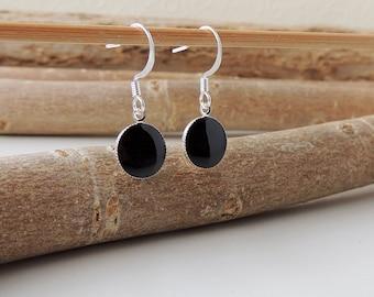Black Earrings, Little Black Drop Earrings, Small Black Charm Earrings, Resin Jewellery, Black Jewellery, UK, 603a