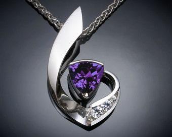 alexandrite necklace, alexandrite pendant, June birthstone, September birthstone,  fine jewelry, white sapphires, Argentium silver - 3466