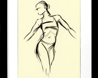 original ink drawing, Brush Figure III, woman, life drawing, dance, sketch, gesture drawing, figurative