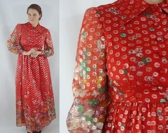 Vintage Sixties Dress - 1960s Red Maxi Dress- Oscar de La Renta Dress - Red Metallic Floral Maxi - Large