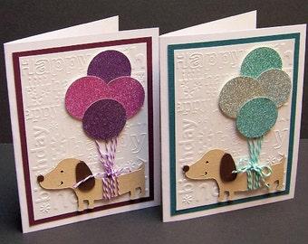 Set of 4 Dog Balloons Birthday Blank Greeting Cards