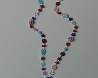 Bohemian boho beaded necklace multicolor red blue purple pink