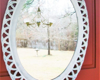 Large Vintage Oval Shabby Chic White Wall Mirror
