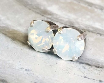 Moonstone Stud Earrings - White Opal - Stud Earrings - 8mm Round