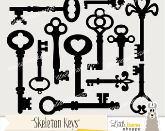 Skeleton Keys Clip Art, Vintage Key Clipart, Old Fashioned Keys, Key Silhouettes, Commercial Use, Instant Download