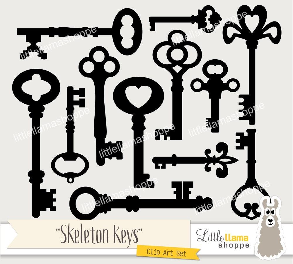 Skeleton Keys Clip Art Vintage Key Clipart Old Fashioned