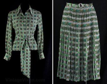 Size 10 Designer Dress Set - 1970s Rety Paris Label - Pistachio Green Daisy Floral Checked Silk Long Sleeve Shirt & Skirt - Waist 28 - 46771