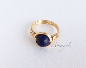 Lapis lazuli wire wrapped ring, blue gemstone ring, gold ring, solitaire ring, jewelry, womens rings, cute rings