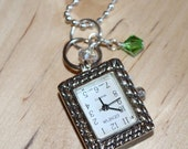 ON SALE Watch Pendant Necklace, Watch Pendant Charm, Green Charm, Birthstone, Emerald, May