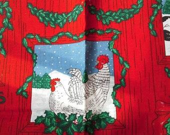 Christmas Print Barnyard Animals 1 Yard Cotton FabricX0476 Chickens, Sheep, Cows, Pigs