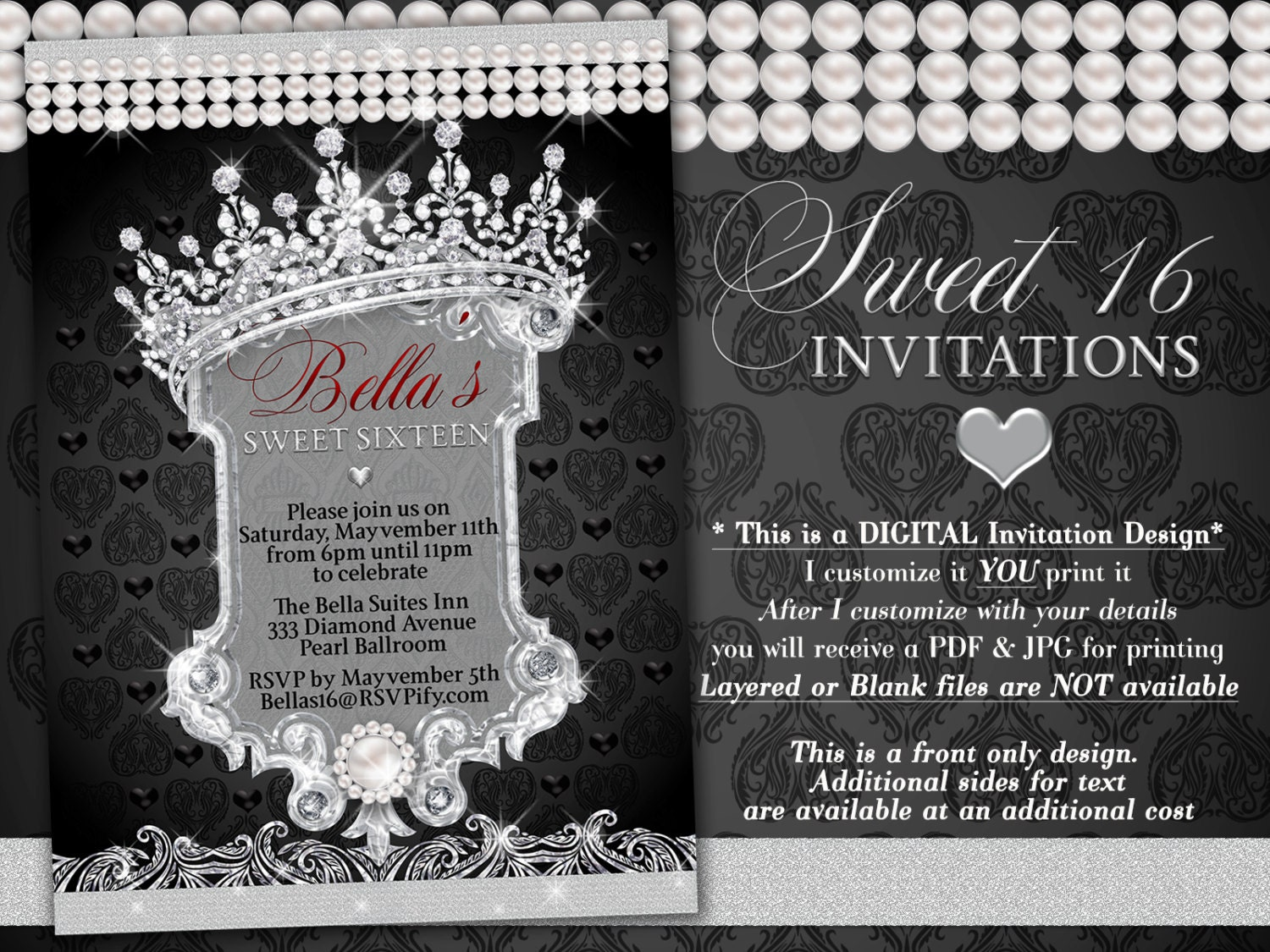 Diamond and Pearl Invitation Sweet 16 Invitation