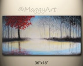 Red tree,by the lake, sunset, large original abstract painting,36x18 inch,on stretched canvas