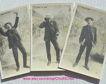 Set of 3 Unused Fun French Postcards - The Monthly Salary...
