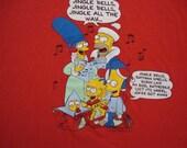 Vintage The Simpson's BART SIMPSON Homer Christmas 1990 90's cartoon T Shirt 2XL