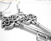 VALENTINES DAY SALE - Skeleton Key Jewelry - Sterling Silver Key Earrings - Teen Jewelry Trend - Gift For Teen Girls 115