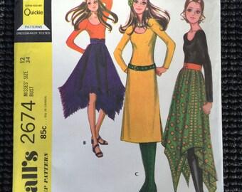 Vintage McCall's 2674 Misses Dress Blouse Skirt Sewing Pattern Size 12 UNCUT