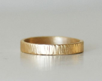 Gold Textured Band - 3mm Wide Driftwood Band - Unisex Gold Band - Eco-Friendly Recycled Gold