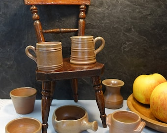 Vintage Miniature French Salt Glazed Stoneware Pots 7 Piece Set