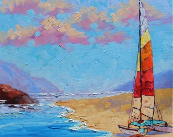 Sail Boat Painting, Sailing Unties the Knots in my Mind Original Oil Painting on Thick Canvas, Impressionism, Sail Boat Art by Rebecca Beal