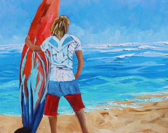 FLASH SALE, Surf Painting, Surfing Art, Surf Board, Ocean Art, Original oil painting of Surfer, Beach Painting, Free US Shipping