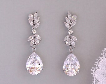 Crystal Drop Earrings, Crystal Chandelier Bridal Earrings, Crystal Bridal Jewelry,  Silver Wedding Earrings,ANNIE C